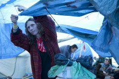 Heathrow 2007; Shelter being tightened up at the 24 hour blockade of BAA's offices.