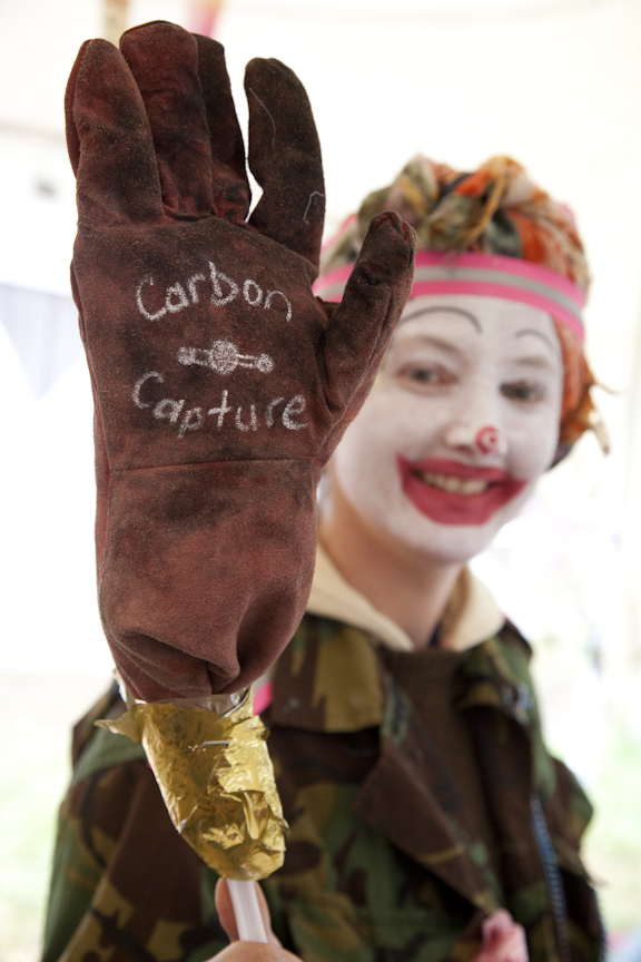 Heathrow 2007; A member of the Rebel Clown Army demonstrates carbon capture.