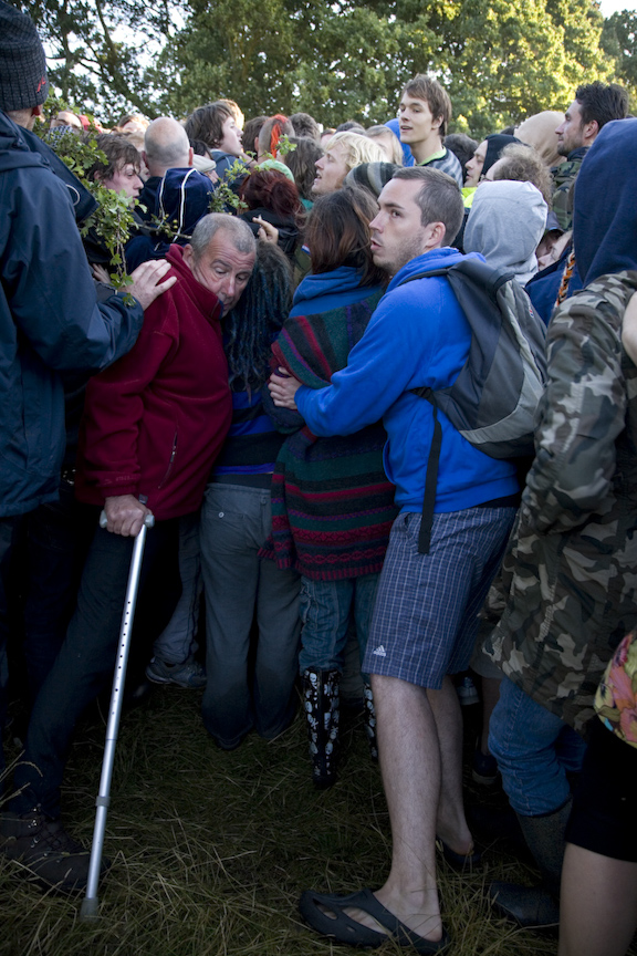 Kingsnorth 2008; people of all ability unite to keep the police from entering the camp.