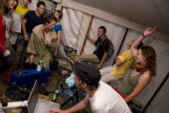 Kingsnorth 2008; Bicycle generators keep the power going for a party in the London tent.