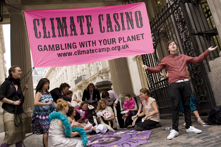 Blackheath 2009; Activists from the Camp for Climate Action set up an impromptu casino within the front gates of the European Climate Exchange, highlighting that carbon trading is a no-win gamble for the planet.