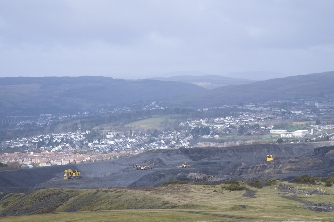 Miller Argent's open cast coal mine on the outskirts of Merthyr Tydfil.