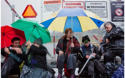 World Water Day blockade of Kinder Morgan terminal gates.